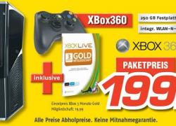 Lokal: MediMax verkauft XBOX360 Slim 250GB inkl. 3 Monate XBL Gold für 199€