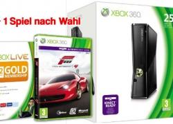 Xbox Slim 250GB + 12 Monate XBL + Forza 4 + Spiel nach Wahl (z.B. Sykrim) für nur ca. 240€