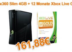 [Bundle] Xbox360 Slim 4GB + 12 Monate Xbox Live Gold Membership für nur 161,88€